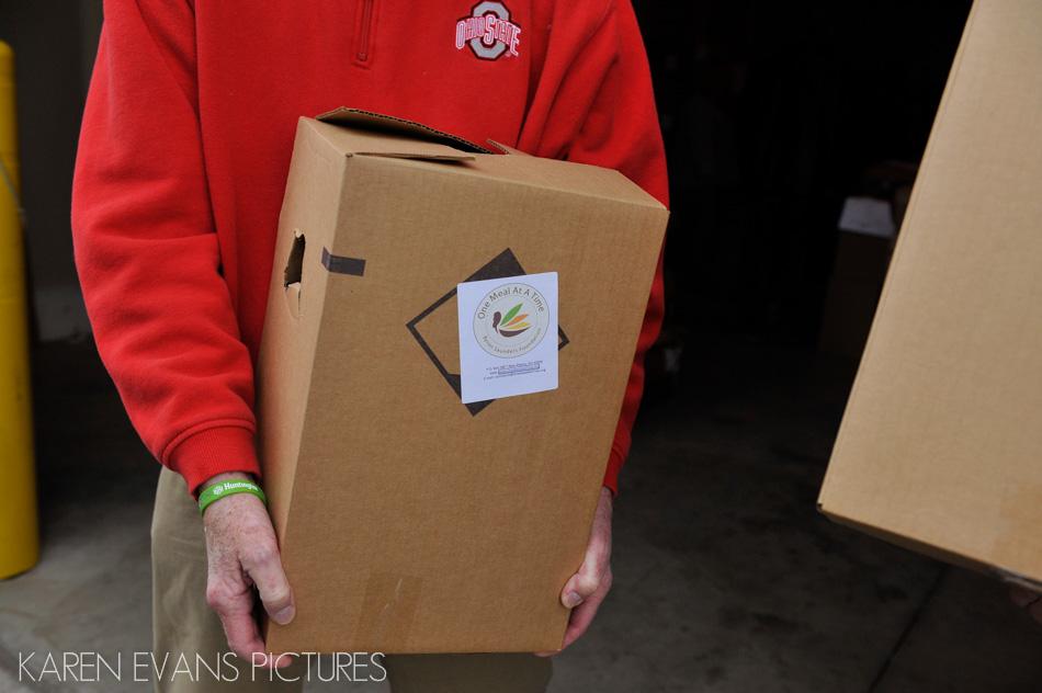 Food distribution at Thanksgiving